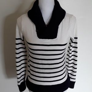 EUC J. Crew striped cord knit cowl neck sweater